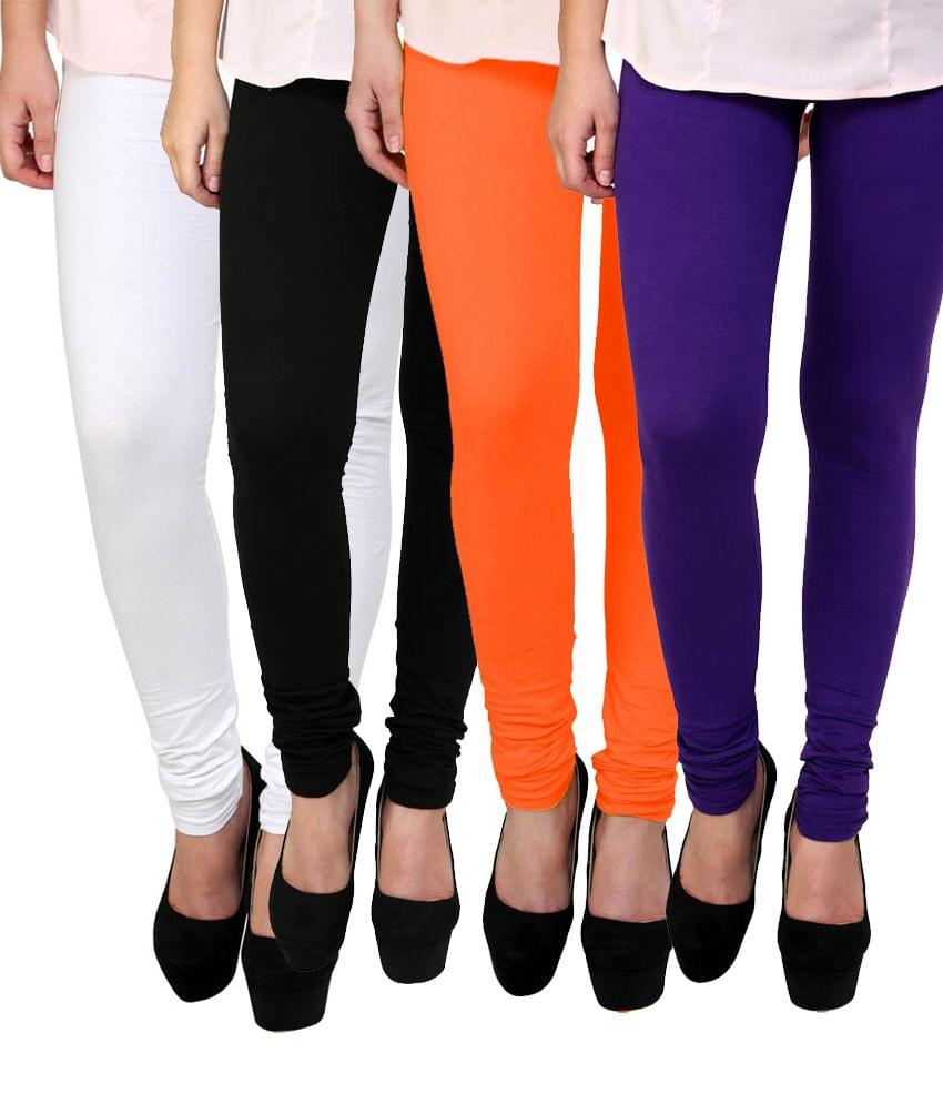 BrandTrendz MultiColor Cotton Pack Of 4 Leggings