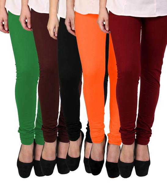 BrandTrendz MultiColor Cotton Pack Of 5 Leggings