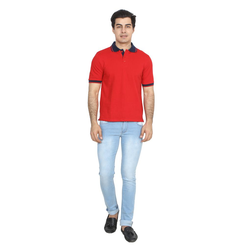 UVA Men Red Solid Polo T-shirt