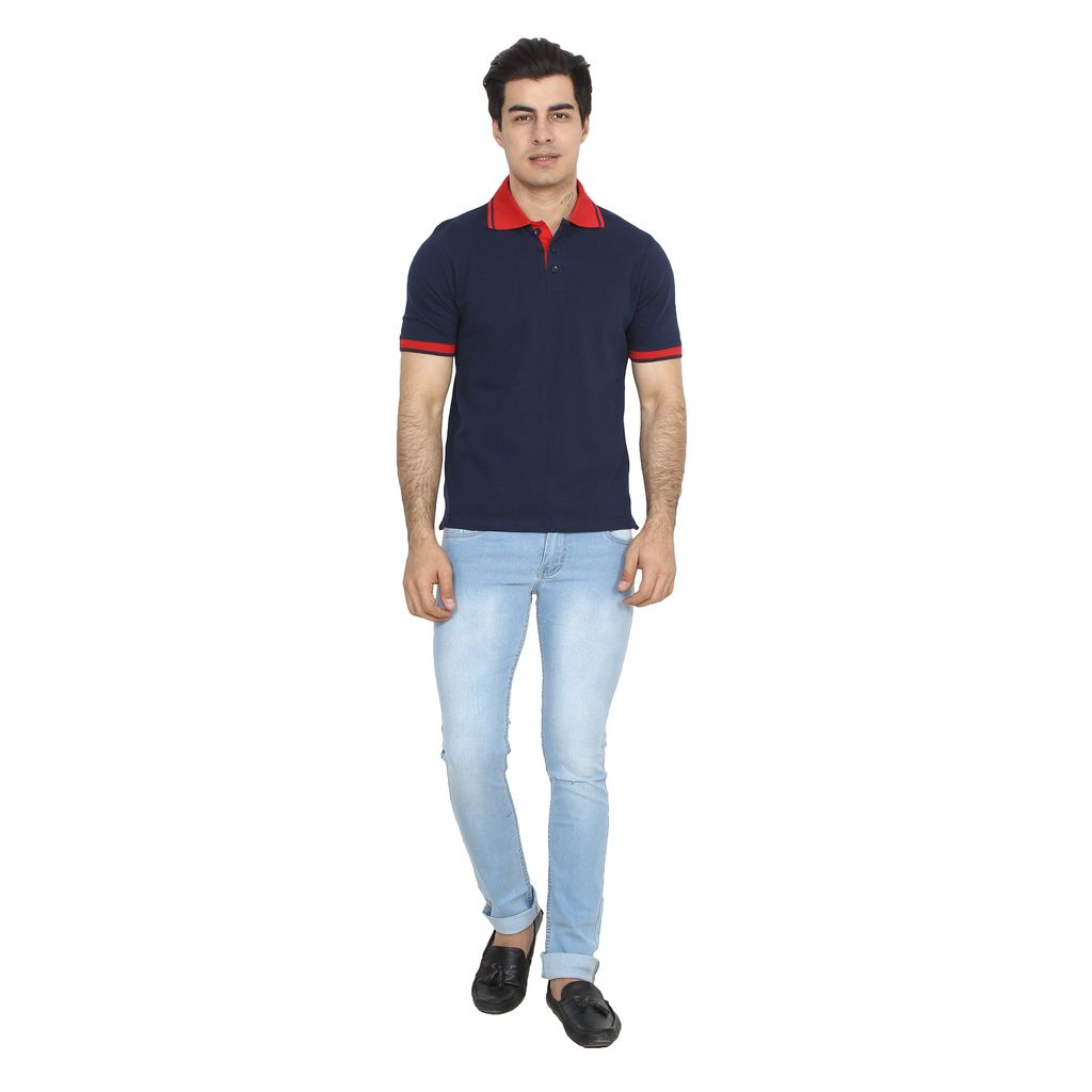 UVA Men Navy Blue Solid Polo T-shirt