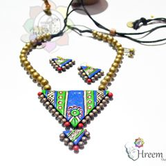 Double Triangle Beaded Necklace Set