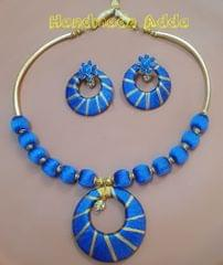 Silk Thread Jewellery Gold & Blue