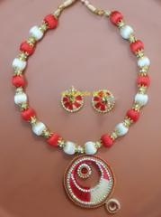 Silk Thread Jewellery Red & White