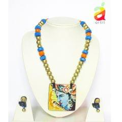Square Krishna Terracotta Jewelry Set