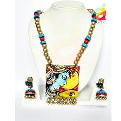 Krishna Portrait Terracotta Jewelry Set
