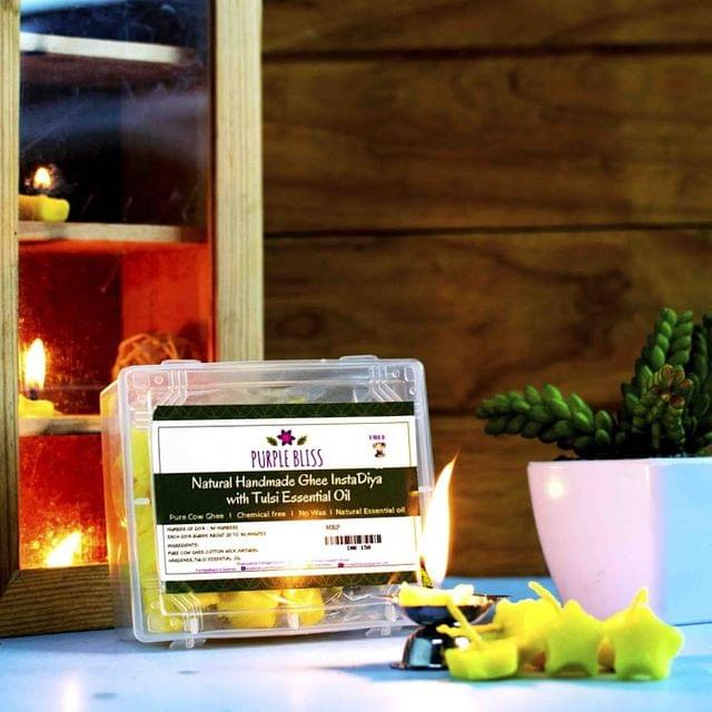 Natural and Handmade Pure Ghee Insta Diya with Tulsi Essential Oil - 30 Nos.with 1 free Steel Diya