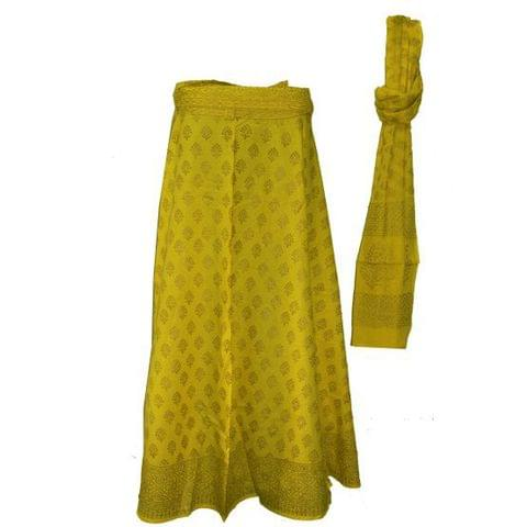 Yellow Golden Long Wrap Skirt with Dupatta