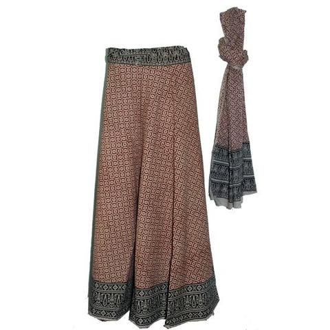 Brown Black Long Wrap Skirt with Dupatta