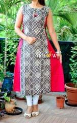 PRINTED KURTI-SIDE TIEUPS