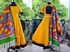 Yellow Mangalagiri cotton anarkali beautified with black and matching Kalamkari dupatta