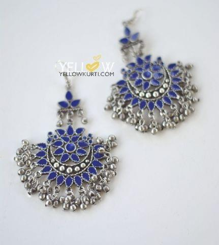 GERMAN SILVER ENAMEL - BLUE