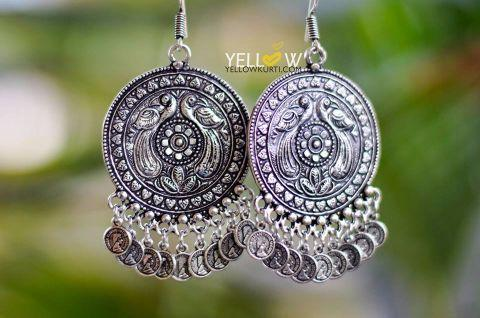 German silver Coin earrings