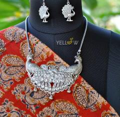 German Silver peacock necklace