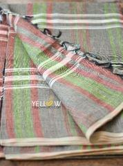 Brown Linen Saree - checks