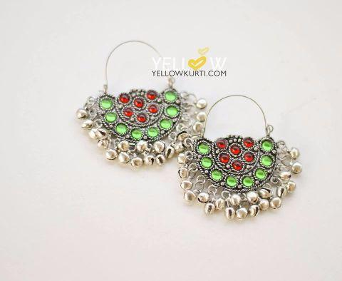 Colorful Kundan Chandbalis @