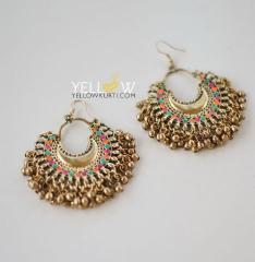 Antique Gold Ghungroo earrings with multicolor touchup