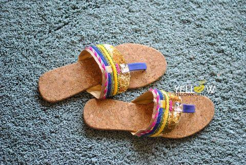 Ethnic flats with golden sequins and threadwork @