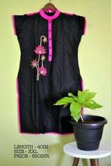 Black cotton Kurti with thread embroidery