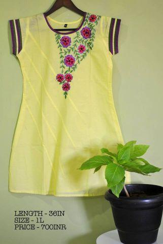 Yellow floral thread embroidered cotton Kurti