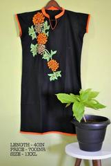 Floral thread embroidered cotton Kurti