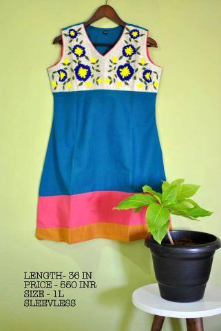 Blue sleeveless Cotton Kurt with thread embroidery