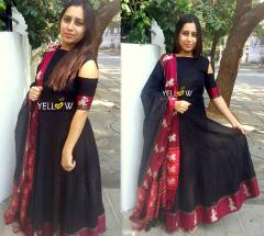 COLD SHOULDER COTTON LONG DRESS WITH DUPATTA