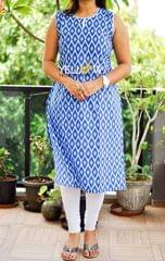 Printed Kurti with white piping