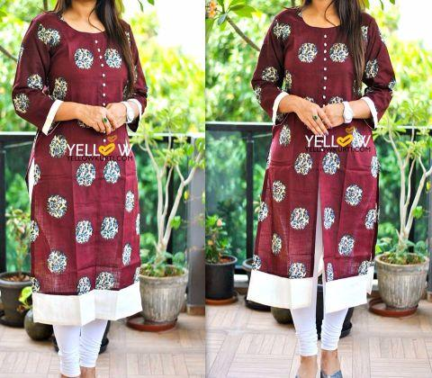 Deep Maroon Linen Printed Kurti with front slit