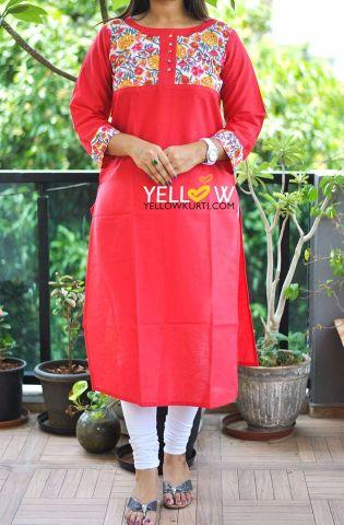 Cotton Kurti with floral yoke