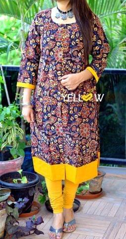 Kalamkari Printed Kurti with front slit