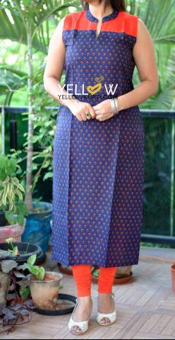Navy Blue printed cotton Kurti with Orange Yoke