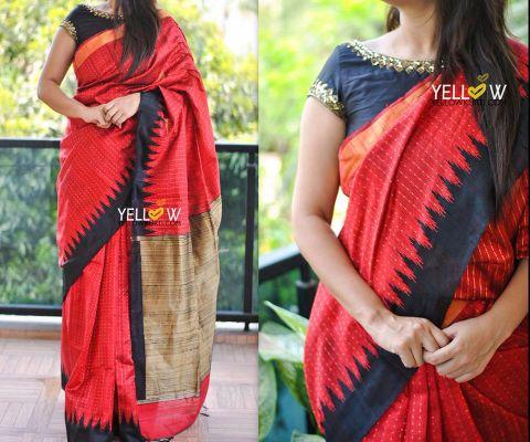 Handloom silk saree in Bright red and black temple border with gold zari woven polka dots all over the saree and rich gold handwoven Pallu