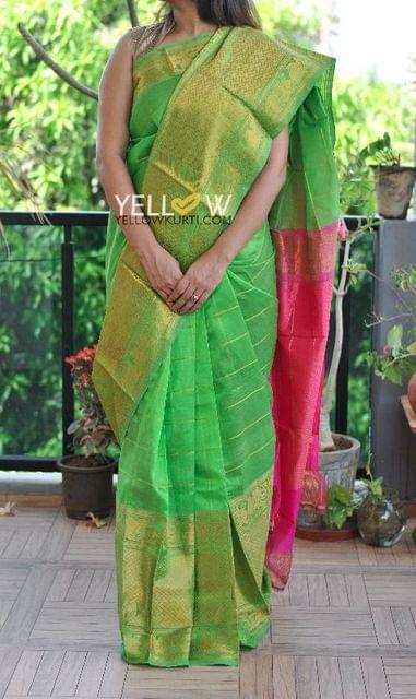 Green Pink Handloom Silk saree