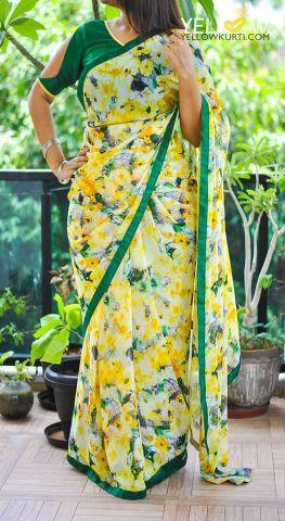 yellow floral georgette saree
