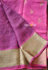Purple Pink Linen Saree