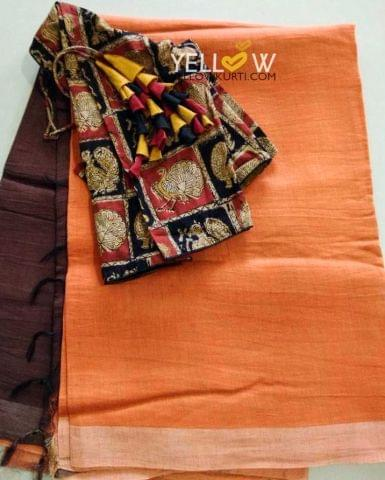 Dual shaded silk linen saree teamed up with kalamkari blouse material as shown in the picture