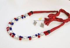 German silver dual shaded thread necklace with matching studs