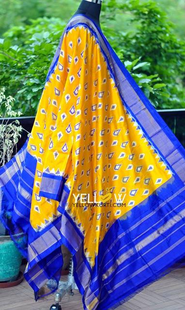 Yellow and blue pure silk Ikkat dupatta