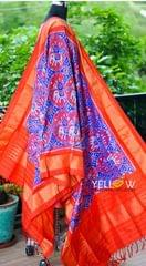 Pure silk Double Ikkat dupatta in vibrant combination of orange and blue