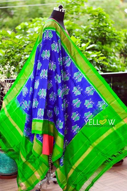 Pure silk Double Ikkat dupatta in vibrant combination of green and blue