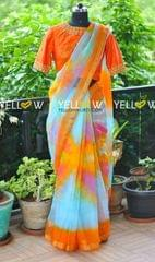 Shibori multicolored Organza saree