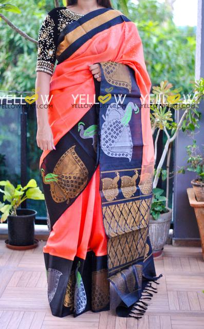 SILVER AND GOLDEN PEACOCKS KUPPADAM SAREE