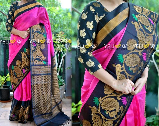 Pink Kuppadam silk Handloom saree with black border detailed with golden peacocks