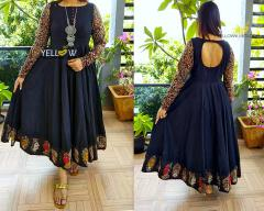 Black kalamkari evening gown