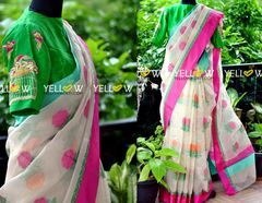 Offwhite tissue kota saree with thread work roses and dual border