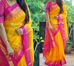 Yellow and pink Kuppadam handloom silk saree with temple border
