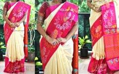 Offwhite and pink Kuppadam handloom silk saree with swans and creepers border and red Pallu