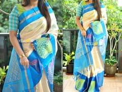 Offwhite and pink blue handloom silk saree with silver and thread peacocks border