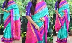 Electric blue,pink and purple Kuppadam handloom silk saree with temple border