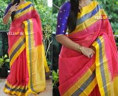 Yellow and pink striped Kuppadam handloom silk saree with temple border with purple highlights